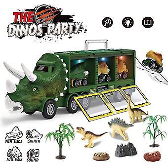 Dinosaurio Transporte Camión Pull Back Vehículo Iluminación Música Niños Juguetes - Colora