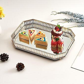 Plateau décoratif rectangulaire de service et de dressing en métal de style scandinave avec base en miroir