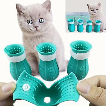 2pcs Cat Bathing Foot Cover Anti-scratch Silicone Réglable Cat Claw Chaussures de protection