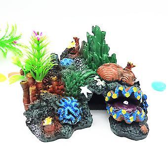 2pcs Fish Turtle Tank Aquarium Decorative Landscaping Resin Crafts Coral Rockery Fish Shrimp Crab Cave Coral Cave