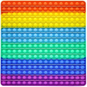 Giant Pop Fidget It Lelu 256 Kuplat - Rainbow Big It Pop Aisti lelu Stressin lievittämiseen - Premium Silikoni Huge Square Push & Pop (30 Cm, Rainbow)