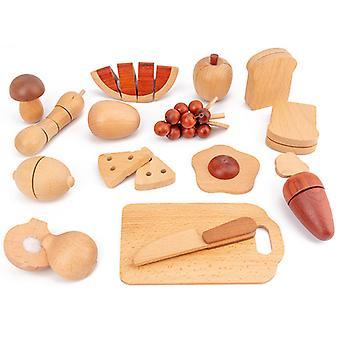 Wooden Cutting Fruit Vegetables Toy Preretend Kitchen Playset