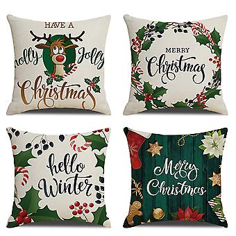 Yesfit joulu tyynynpäällinen sarja 4 joulukoristeita Pella pellan tyynynpäällinen