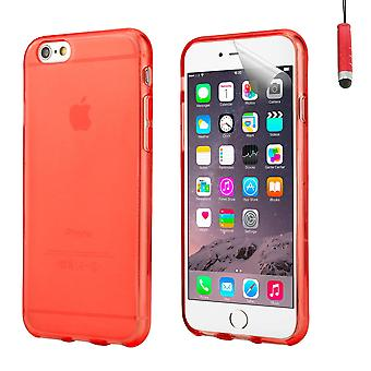Crystal Gel Case Cover für Apple iPhone 6 Plus (5,5 Zoll) + touch Stylus - rot