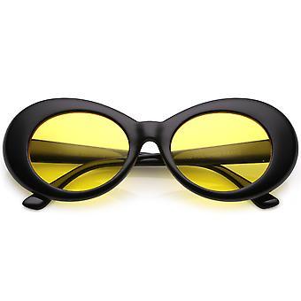 نظارات بيضاوية الرجعية مع الأسلحة مدبب لون العدسة جولة ملون 51 مم