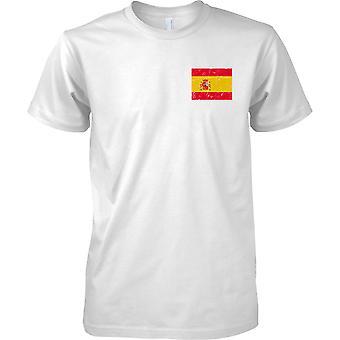 Spanien gequält Grunge Effekt Flaggendesign - Mens Brust Design T-Shirt