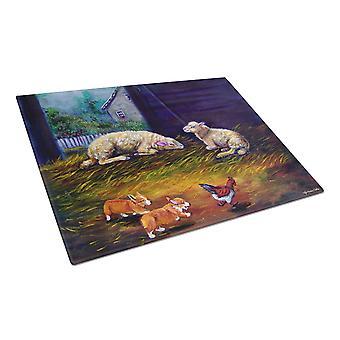 Corgi Chaos in the barn with sheep Glass Cutting Board Large