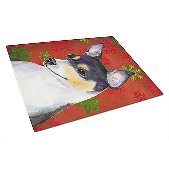 Chihuahua Red and Green Snowflakes Holiday Christmas Glass Cutting Board Large