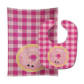 Carolines Treasures  BB7048STBU Donut Face Baby Bib & Burp Cloth