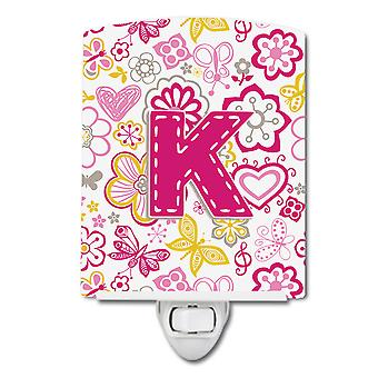 Letter K Flowers and Butterflies Pink Ceramic Night Light