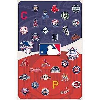 Бейсбол MLB - логотипы 15 Плакат Плакат Печать