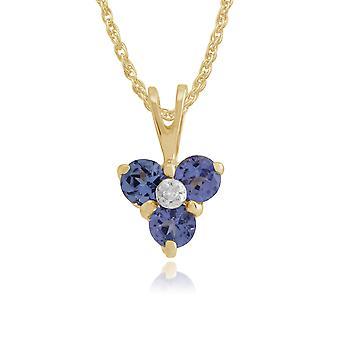 Floral Round Tanzanite & Diamond Pendant Necklace in 9ct Yellow Gold 181P0014249