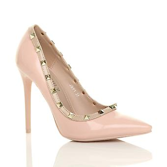 Ajvani womens high heel stiletto studded contrast pointed court shoes pumps