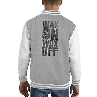Wax On Wax Odd Karate Kid Miyagi Kid's Varsity Jacket