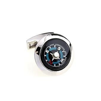 Working Compass Cufflinks Silver Business Naval Army Gift