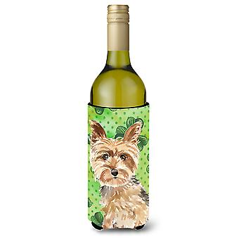 Shamrocks Yorkie Yorkshire Terrier botella de vino Beverge aislador Hugger