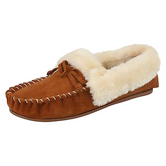 Ladies Four Seasons Moccasin Style Slippers Kay - Tan Suede - UK Size 3 - EU Size 35 - US Size 5