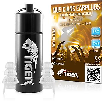 Tiger Pro Musicians Filter Earplugs Noise Cancelling Hearing