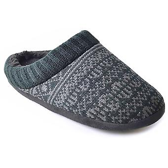 SlumberzzZ Mens Snowflake Style Knitted And Faux Fur Insole Mule Slipper