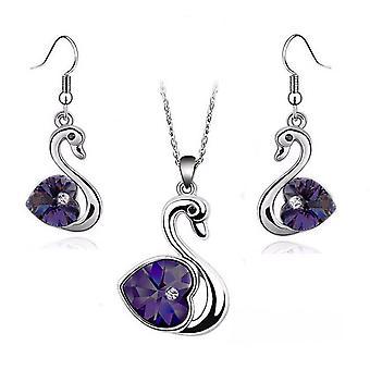 Coração de cristal amor em cisne roxo escuro joias conjunto brincos e correspondente colar de prata