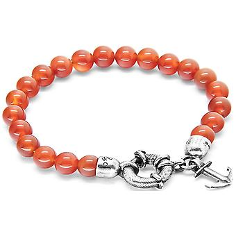 Anchor and Crew Port Silver and Carnelian Stone Bracelet - Red/Silver