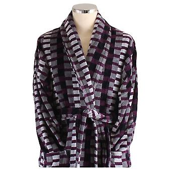 Bown of London Welshpool Geometric Dressing Gown - Black/Grey/Purple