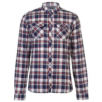 Firetrap Mens Blackseal espiga Check camisa manga larga Casual de algodón