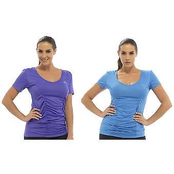 2Pk Ladies Tom Franks Sport Gym Top Beach Holiday Fashion Vest SML-Purple-Blue