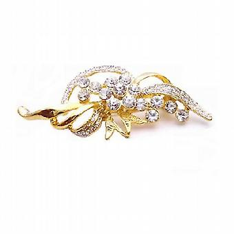 Vintage Brooch Gold Leaf Decorated with Pearls Cubic Zircon Diamante