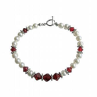 Weiße Perlen und Swarovski Siam rot Kristall Armband handgemachte, echte Swarovski Perlen & Crystal