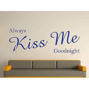 Siempre Kiss Me Goodnight Wall Sticker Art - azul brillante