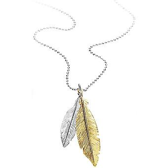 Bella Two Tone Feather Drop Pendant - Silver/Gold