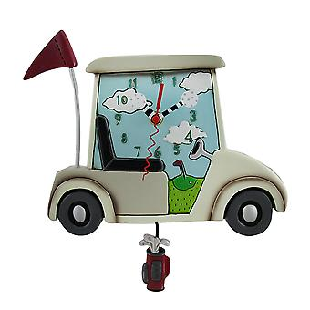 Allen Designs Stay the Course White Golf Cart Pendulum Wall Clock