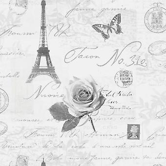 Holden caligrafía París postales viajes Torre Eifell de plata papel pintado gris