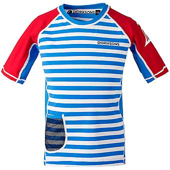 Didriksons Kids Surf Short Sleeve UPF50+ UV Sun Top | Malibu Blue Stripe
