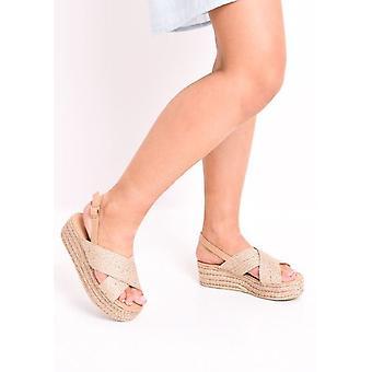 Überqueren Sie die geflochtenen Kork Slingback Flatform Espadrilles Sandalen Rose Gold