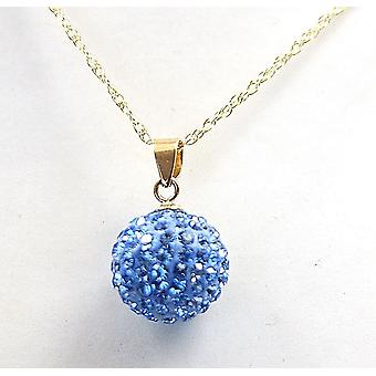 The Olivia collection 9Ct Blue Disco Ball Pendant on 18 Inch Chain