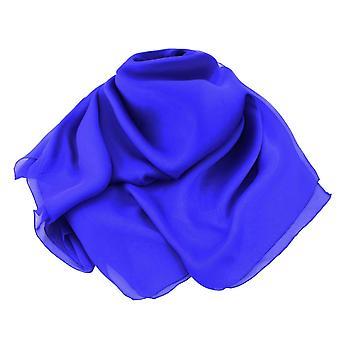 Eternal Collection Plain Cobalt Blue Oblong Pure Silk Chiffon Scarf
