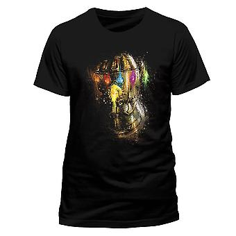 Men's Avengers Endgame Gauntlet Splatter Black T-Shirt
