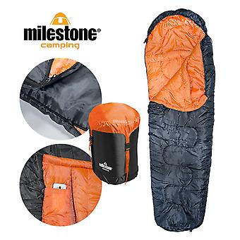 Milestone Mummy Sleeping Bag Double Layer Orange/Black - Size Single
