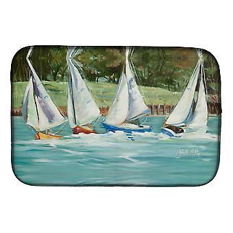 Carolines Treasures  JMK1035DDM Sailboats on the bay Dish Drying Mat