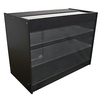 Retail Glass Shelf Product Display Counter Showcase Lockable Cabinet Black K1200