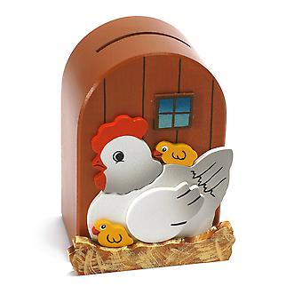 Weizenkorn Piggy Bank 3D Chicken Wood