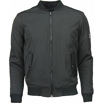 Casual Jacket-Basic Bomber jacket-Black