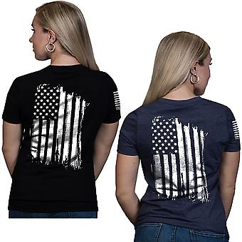 Nine Line Apparel Women's America Relaxed Fit V-Neck Short Sleeve T-Shirt
