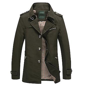 Allthemen Men-apos;s Cotton Jacket Solid Slim Fit Automne Lapel Casual Trench Coat