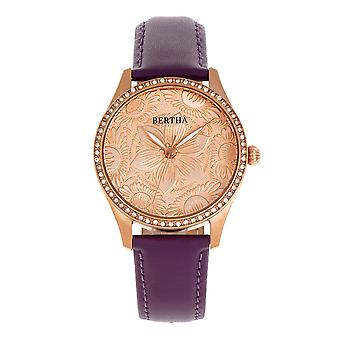Bertha Dixie Floral Engraved Leather-Band Watch - Purple