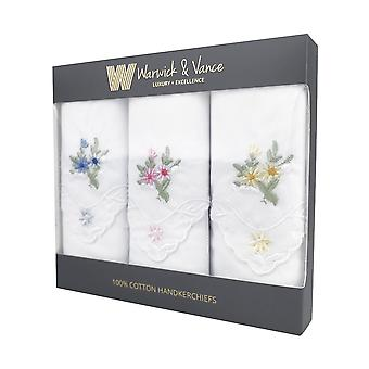 Womens/Ladies Assorted Handkerchiefs Floral Embroidered Detail & Lace Corners