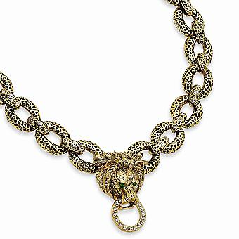 14k Gold Plated finish Fancy Lobster Closure Swar Crystal 18inch With 2In ext Lion Necklace Jewelry Gifts for Women