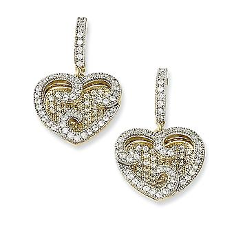 925 Sterling Argento Dangle Post Orecchini Rhodium-plated e Dorato Cubic a Romoia Fancy Cuore Orecchini